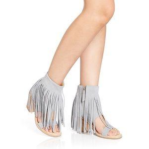Koolaburra Piaz leather wedge fringe sandals